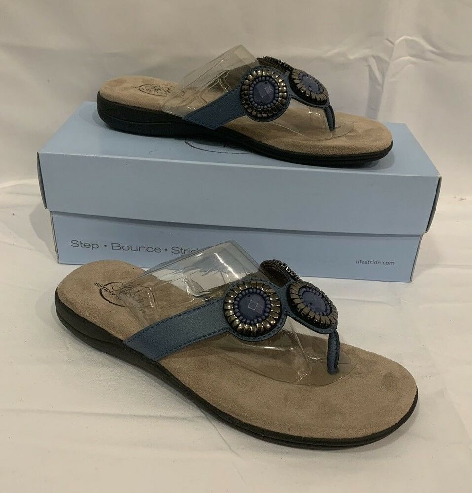 f05ef201ae7 Life Stride Womens Blue Mist Estella Flat Comfort Sandals Shoes Size 7 M  NIB  LifeStride  Slides  Casual