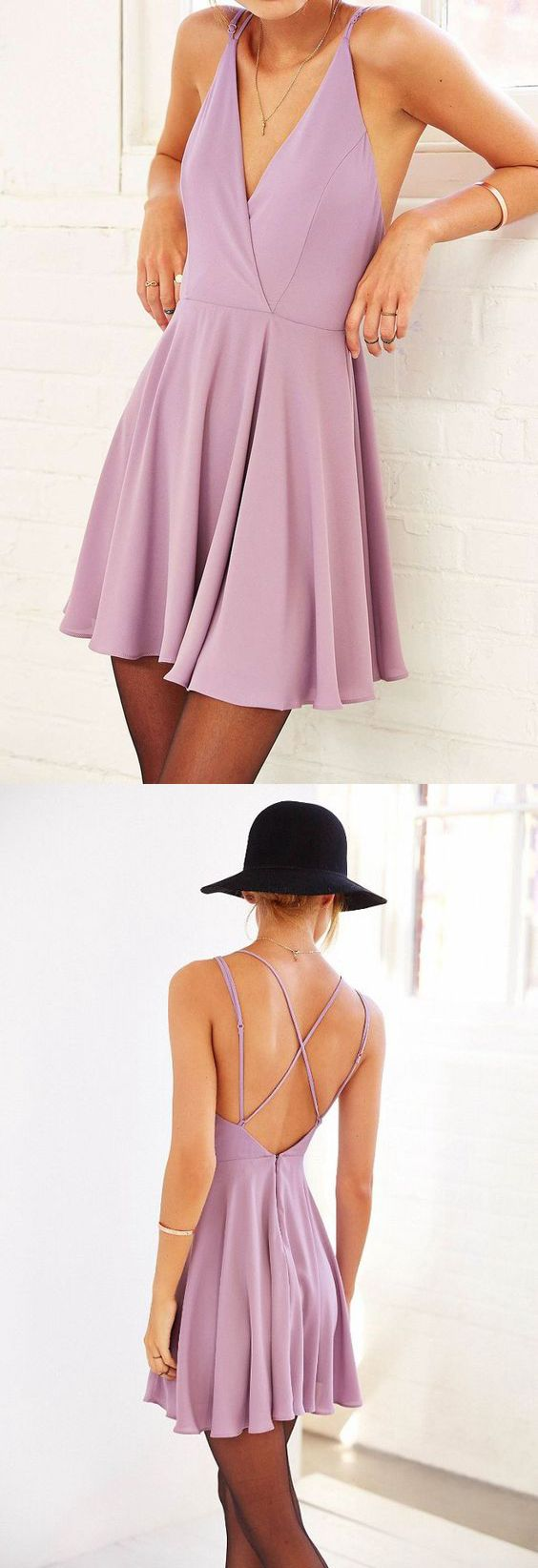 Simple a line v neck open back pink purple casual short homecoming