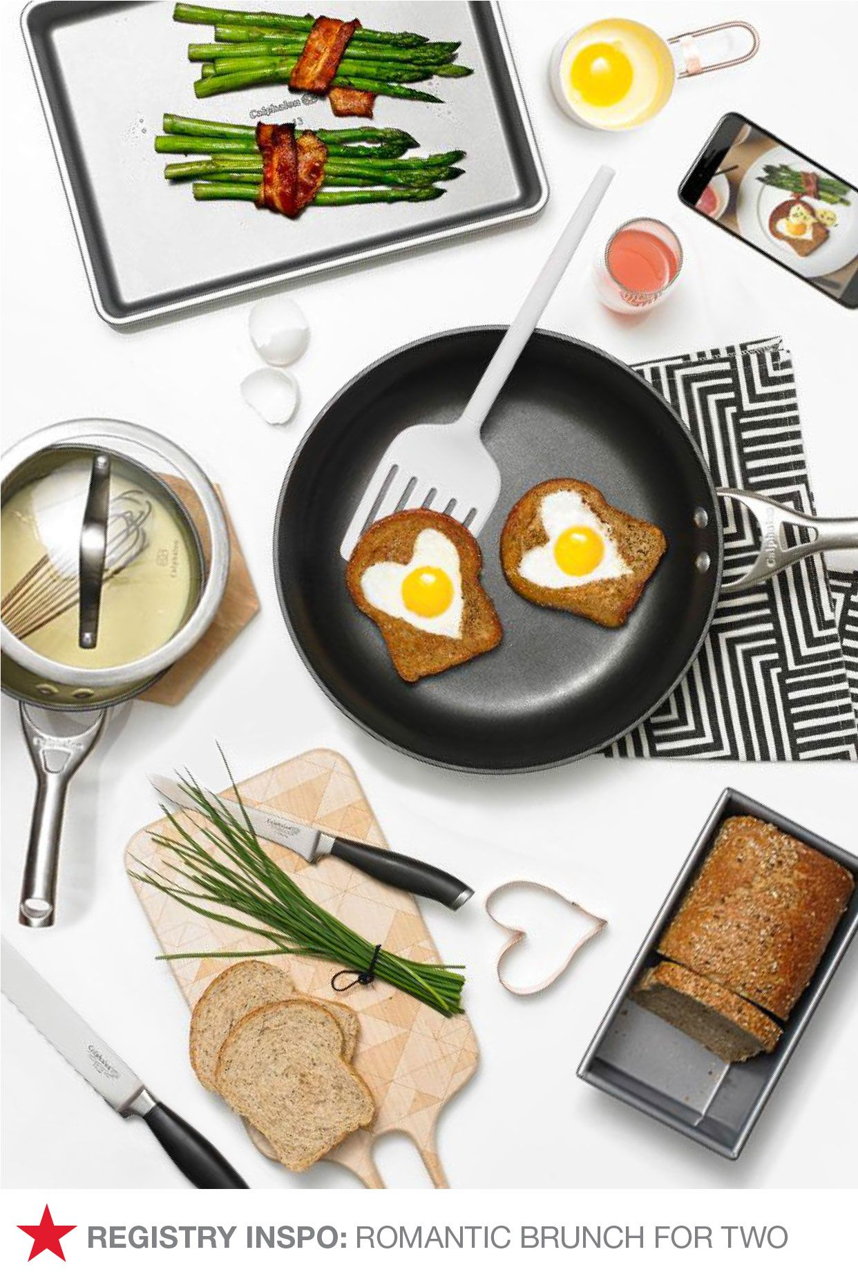 Have a Macy's Registry? (If not, you should definitely make one!) Arm yourself with the right kitchen basics and tools to turn an ordinary Sunday into a romantic brunch for two. You'll need Calphalon cookware and bakeware, plus some kitchen gadgets like spatulas, cookie cutters, cutting boards and more! Don't miss out — add these to your Macy's Registry on macys.com now!