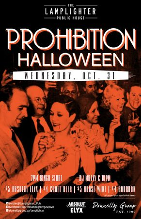 Prohibition Halloween at The Lamplighter - Wednesday, October 31st