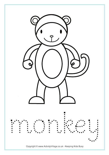 Monkey Word Tracing Monkey Coloring Pages Animal Stories
