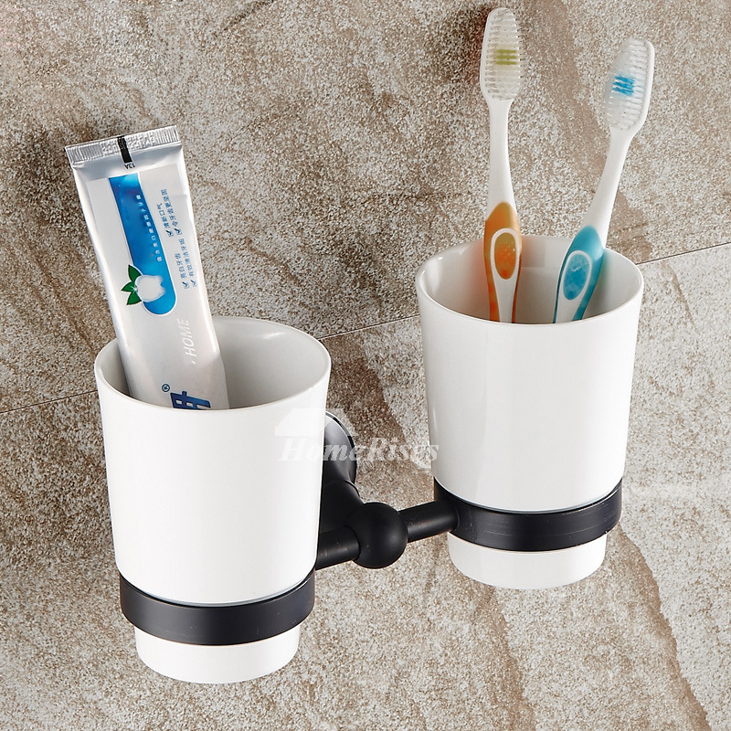 Ceramic Toothbrush Holder Wall Mounted Bathroom Double Toothbrush Holder Wall Ceramic Toothbrush Holder Brushing Teeth