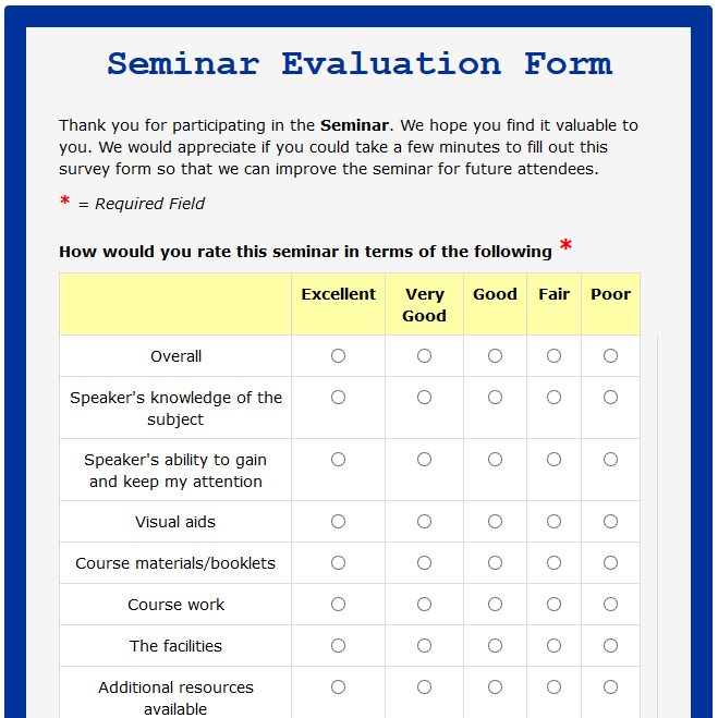 evaluation form sample for seminar  Image result for format of feedback form for seminar ...