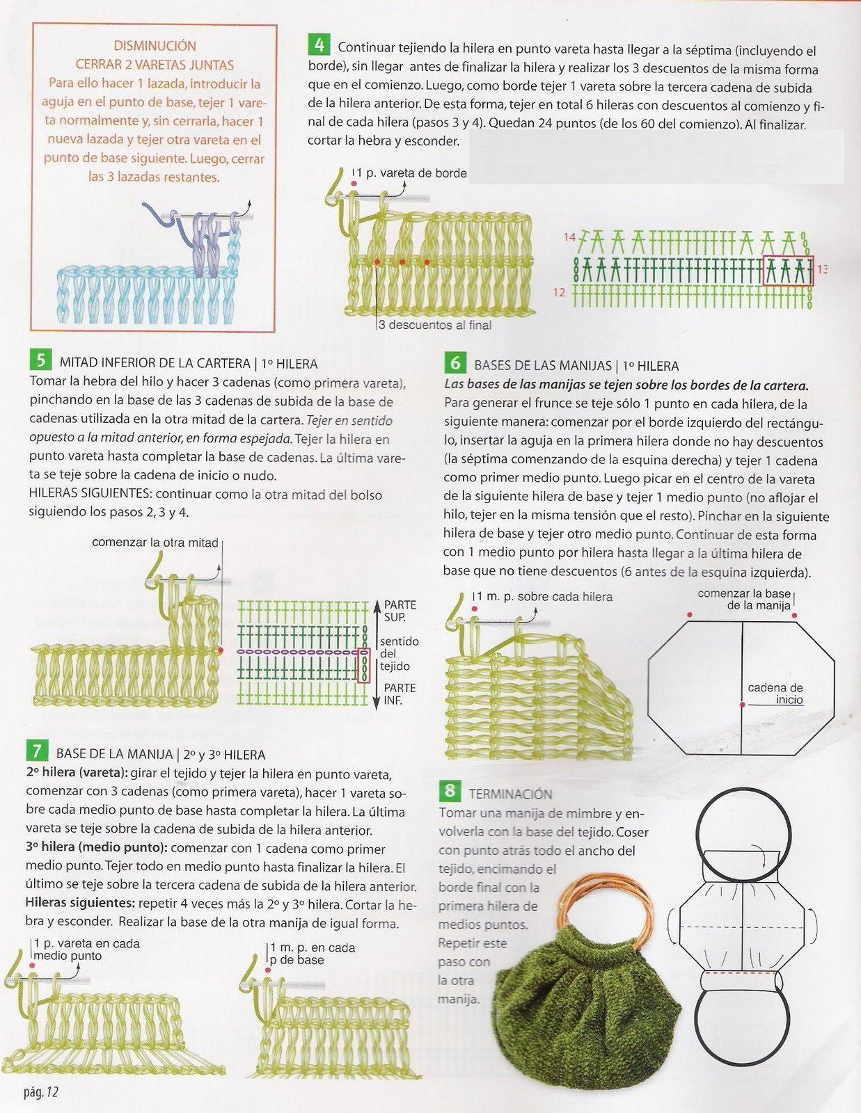 Patron para Tejer un Bolso a crochet verde campo - iKnitts.com ...