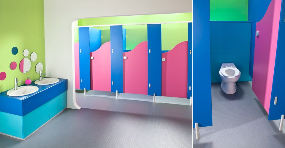 School Bathroom Design Ideas brecon toilet cubicles - blue and dragon fruit | kindergarten