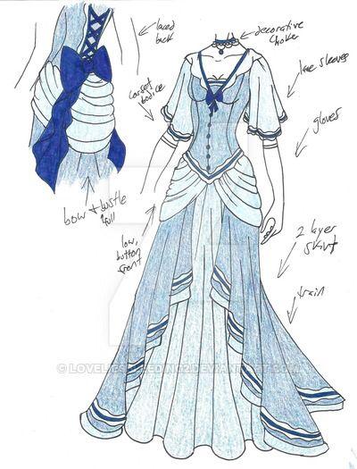 Blue Princess Dress Flowy Anime Outfits Dress Sketches