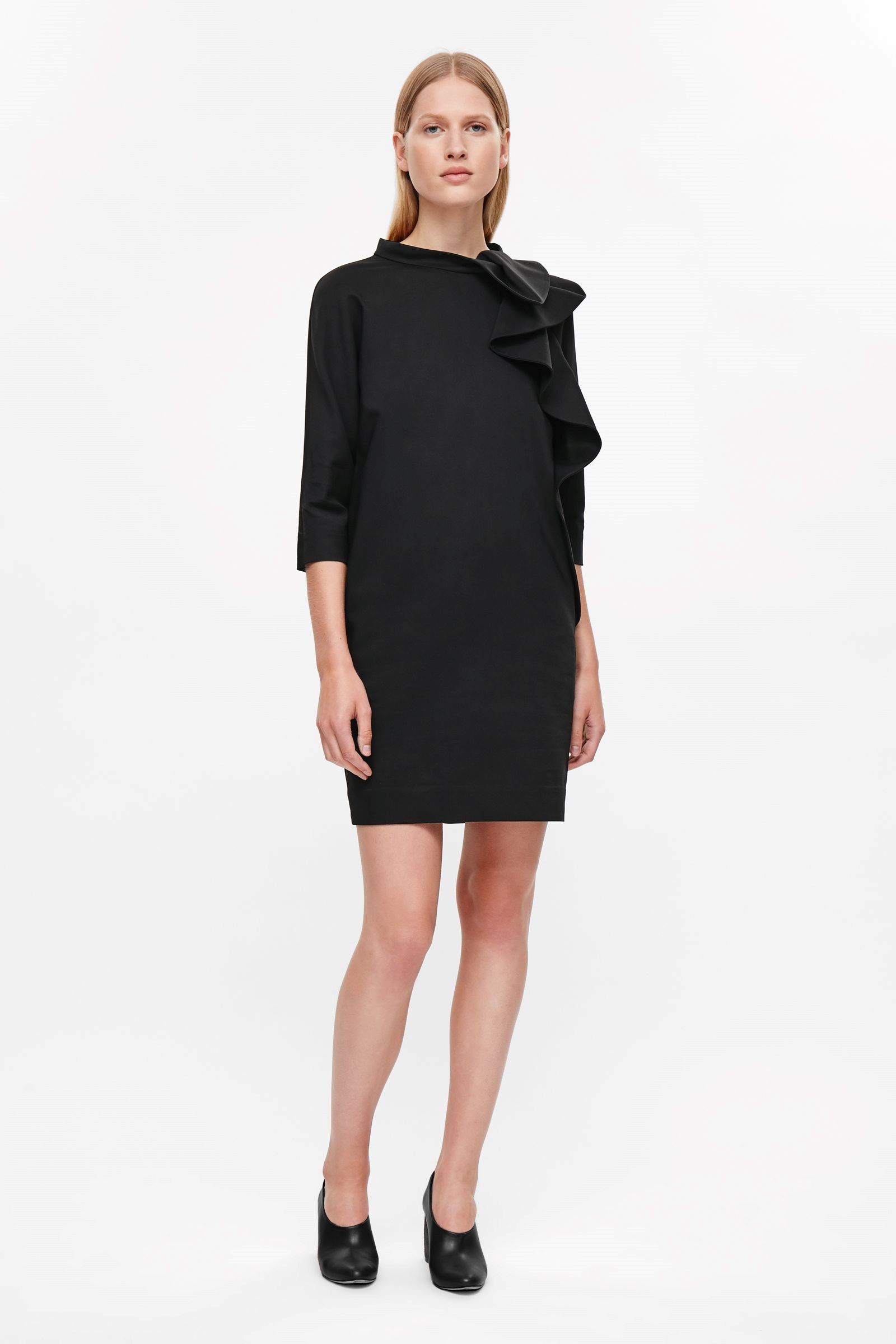 COS image 1 of Rounded drape dress in Black | Cool | Pinterest | Black