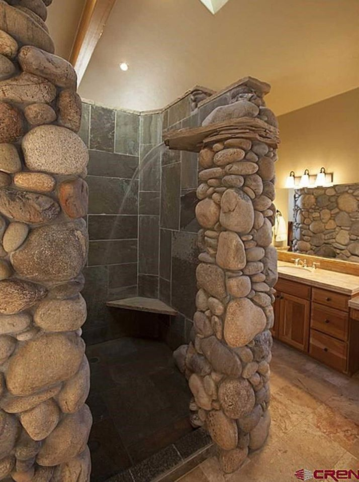 River Rock Shower With Waterfall OMG Remodel Bath