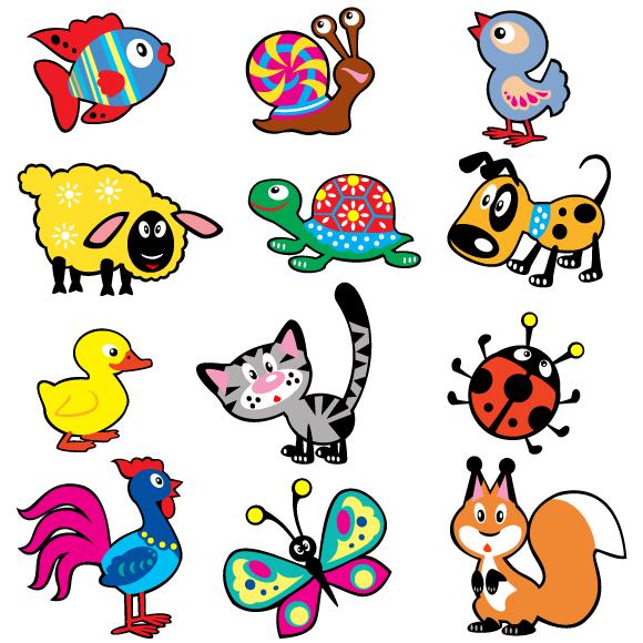 Animalitos estilo dibujo infantil en imagen normal y en - Dibujos para paredes ...