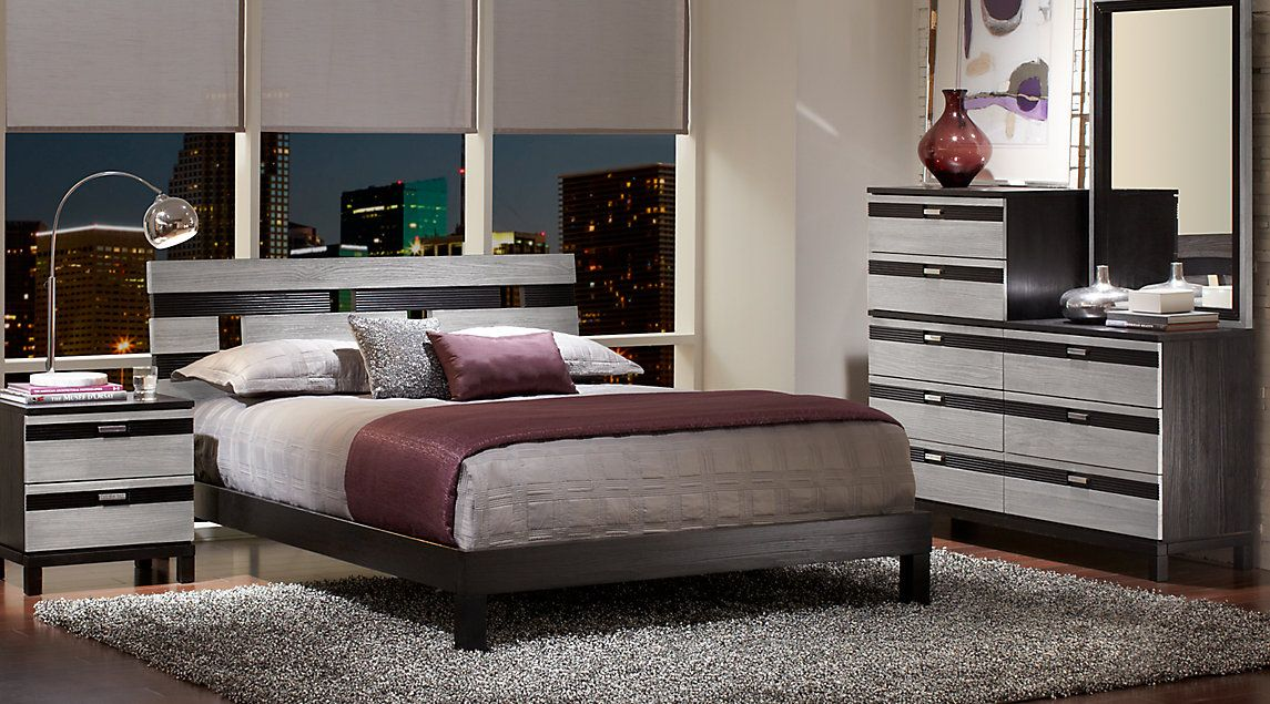 Gardenia Silver 5 Pc Queen Platform Bedroom | bedroom & accessories ...