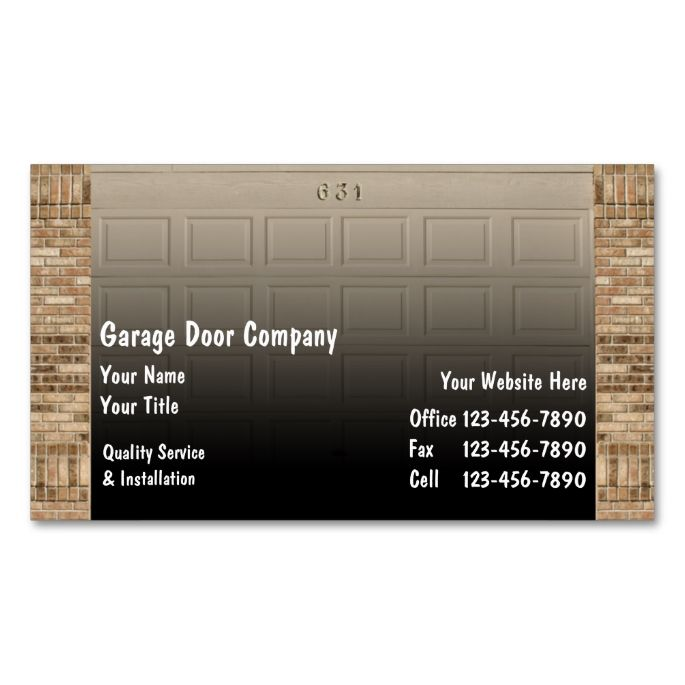 Garage Door Business Cards Make Your Own Card With This Great Design All You Need Is To Add Info Template
