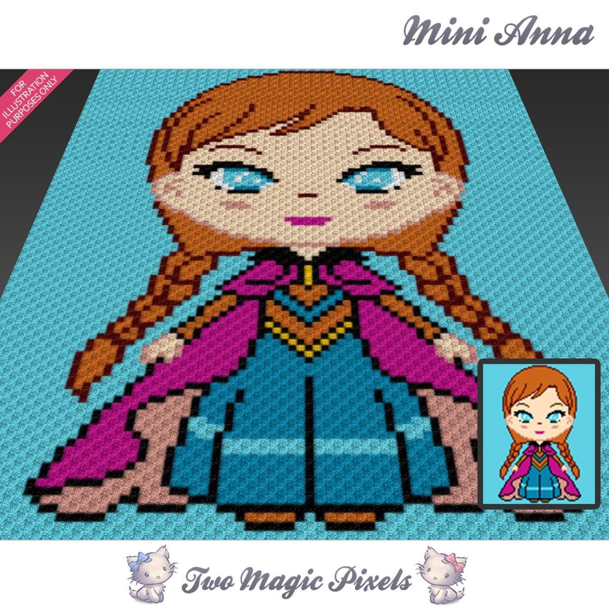Mini Anna Frozen C2C Crochet Graph   Manta, Mantas de ganchillo y Cobija