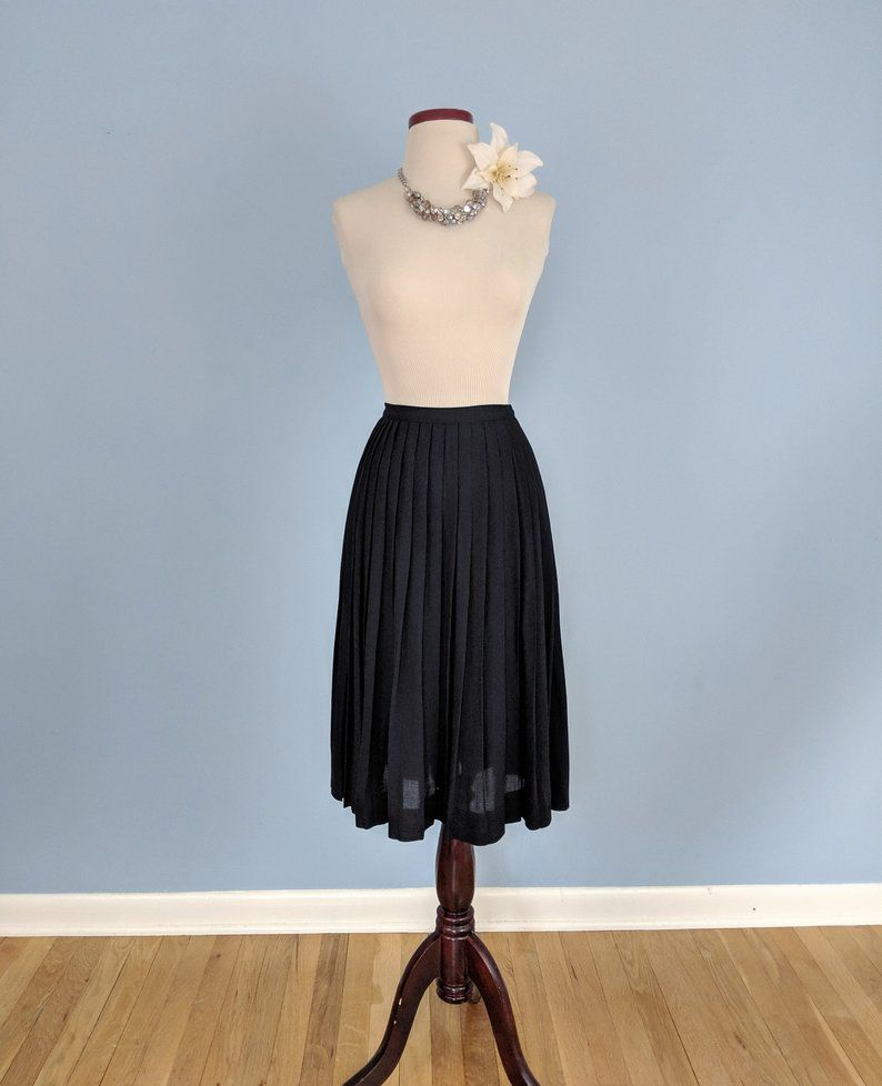 5f4891be98 Vintage 60s Black Crepe Pleated Skirt, 1960s Accordion Pleated Skirt ...