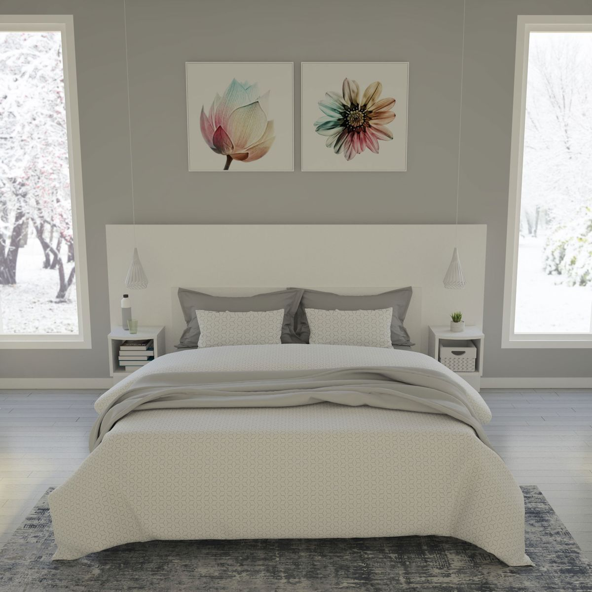 Tete De Lit Avec Chevet Incorpore Tres Large Recherche Google Bedroom Furniture Double Bed Designs Bedroom Interior
