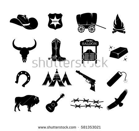 b721048cc3a Cowboy, western, wild west icon set vector american, badge, bandit ...