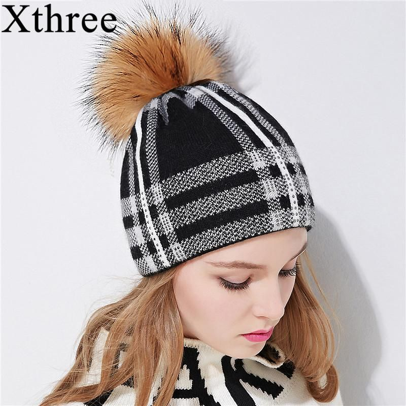 764c22e2cf75a Xthree Women S Winter Hat For Girl Wool Knitted Beanies Hat With Real –  FuzWeb