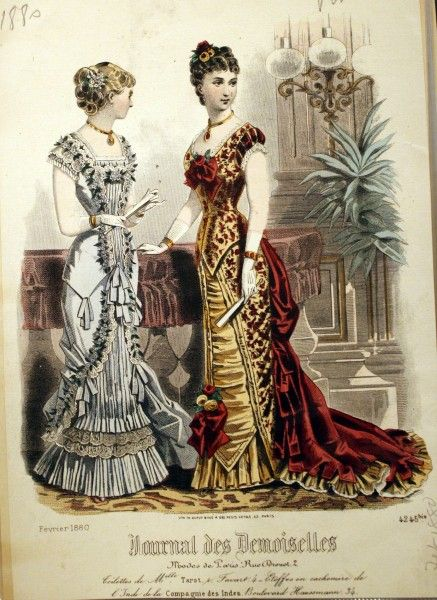 f10c1dc1cdab 1880 February Evening Gowns - the silhouette is what allows others to  recognize & distinguish a bustle dress