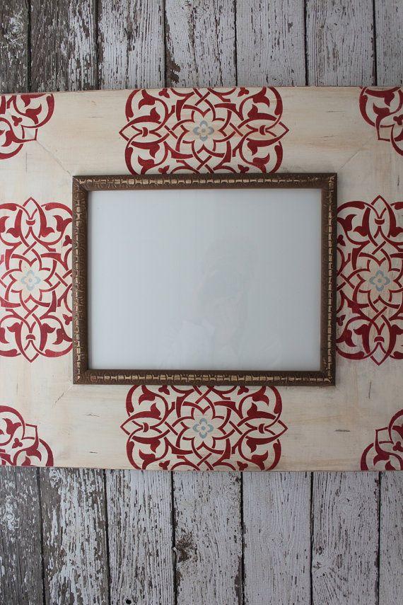11 x 14 angustiado foto marco medallón moho rojo sobre blanco ...