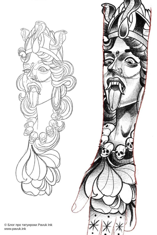 Эскиз тату Кали богиня | Блог про татуировки pavuk.ink