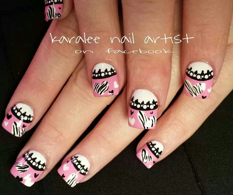 valentines day nails- nail art zebra print hearts pink french black lace by karalee nail artist