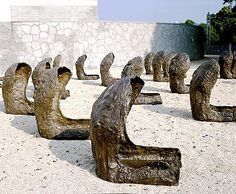 """Magdalena Abakanowicz  'Space of Becalmed Beings"""""""