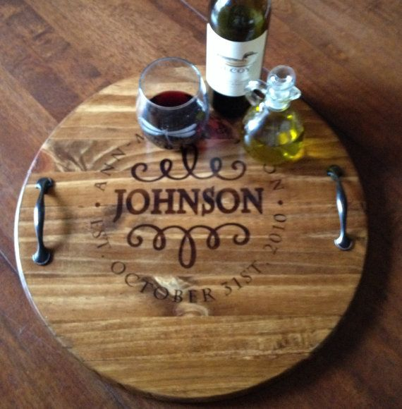 personalized serving tray wood serving tray wine barrel tray
