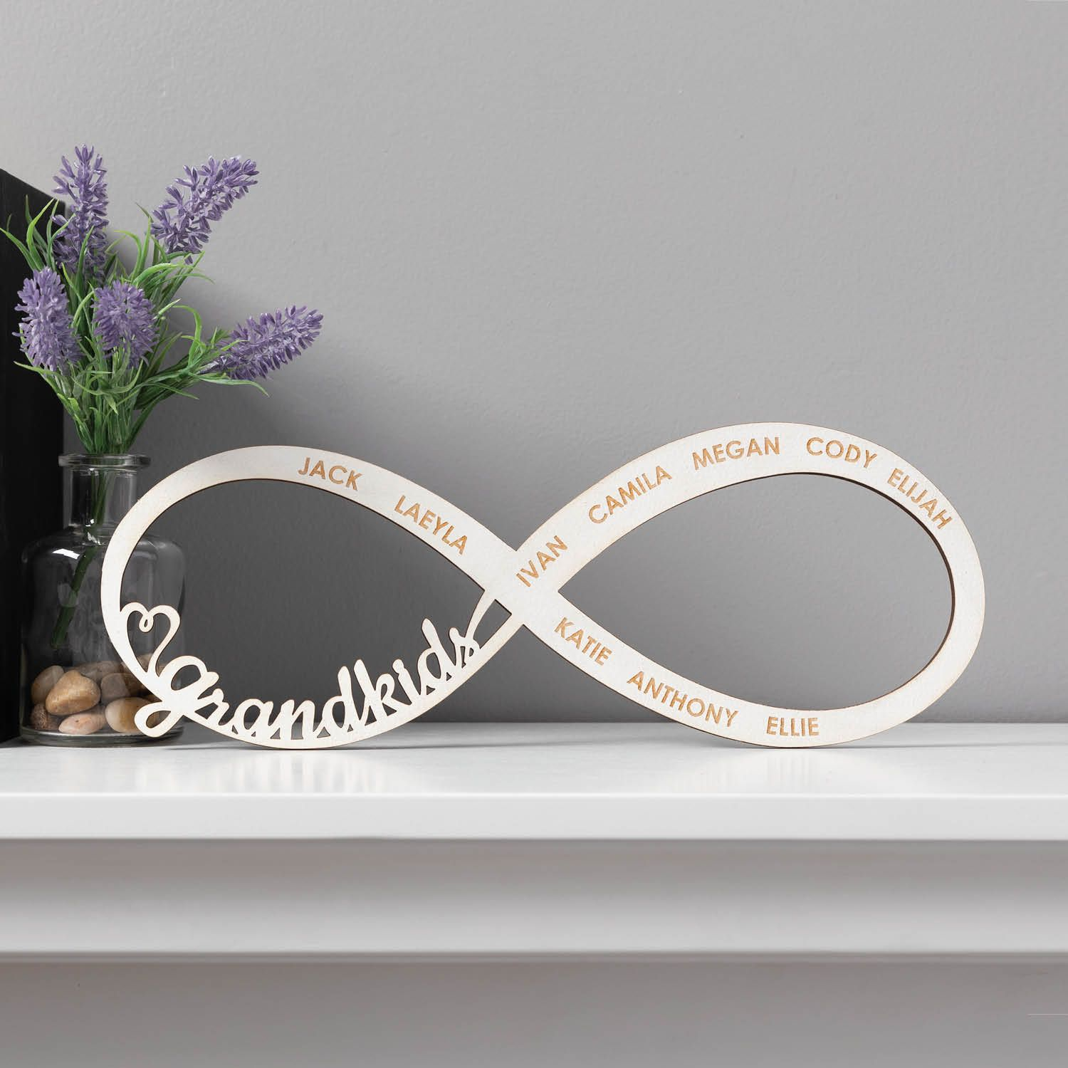 Grandkids Infinity White Plaque Personalized Planet Personalized Family Wall Art Personalized Prints Infinity Symbol Design