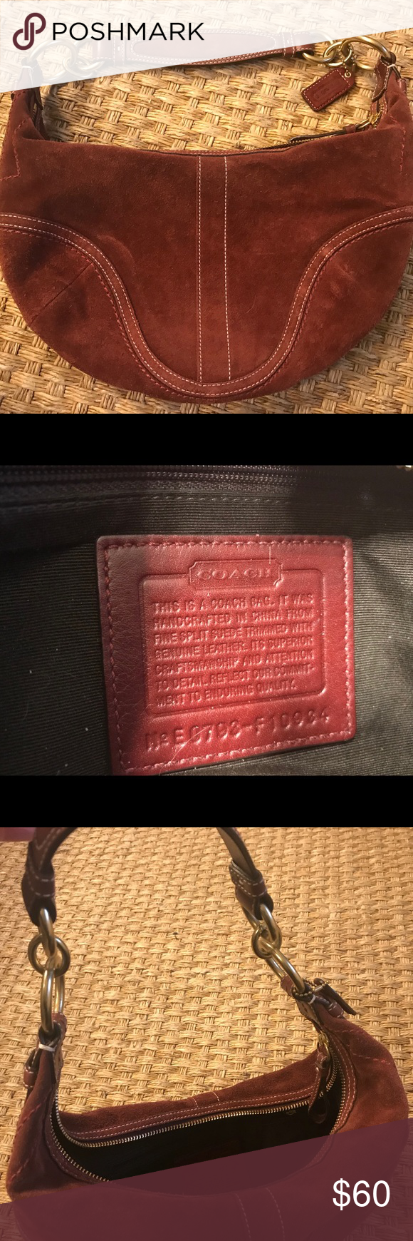 Coach burgundy wine suede hobo bag Zip closure. Gold hardware. Very good  condition. Coach Bags Hobos f18b7e6e38