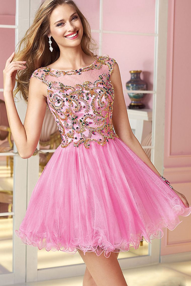 beaded tulle bodice low back a line shortmini dresses pick up