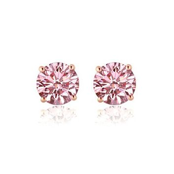 Pgd Pink Diamond Stud Earrings Set In 14k Rose Gold 43ctw At Yatesjewelers