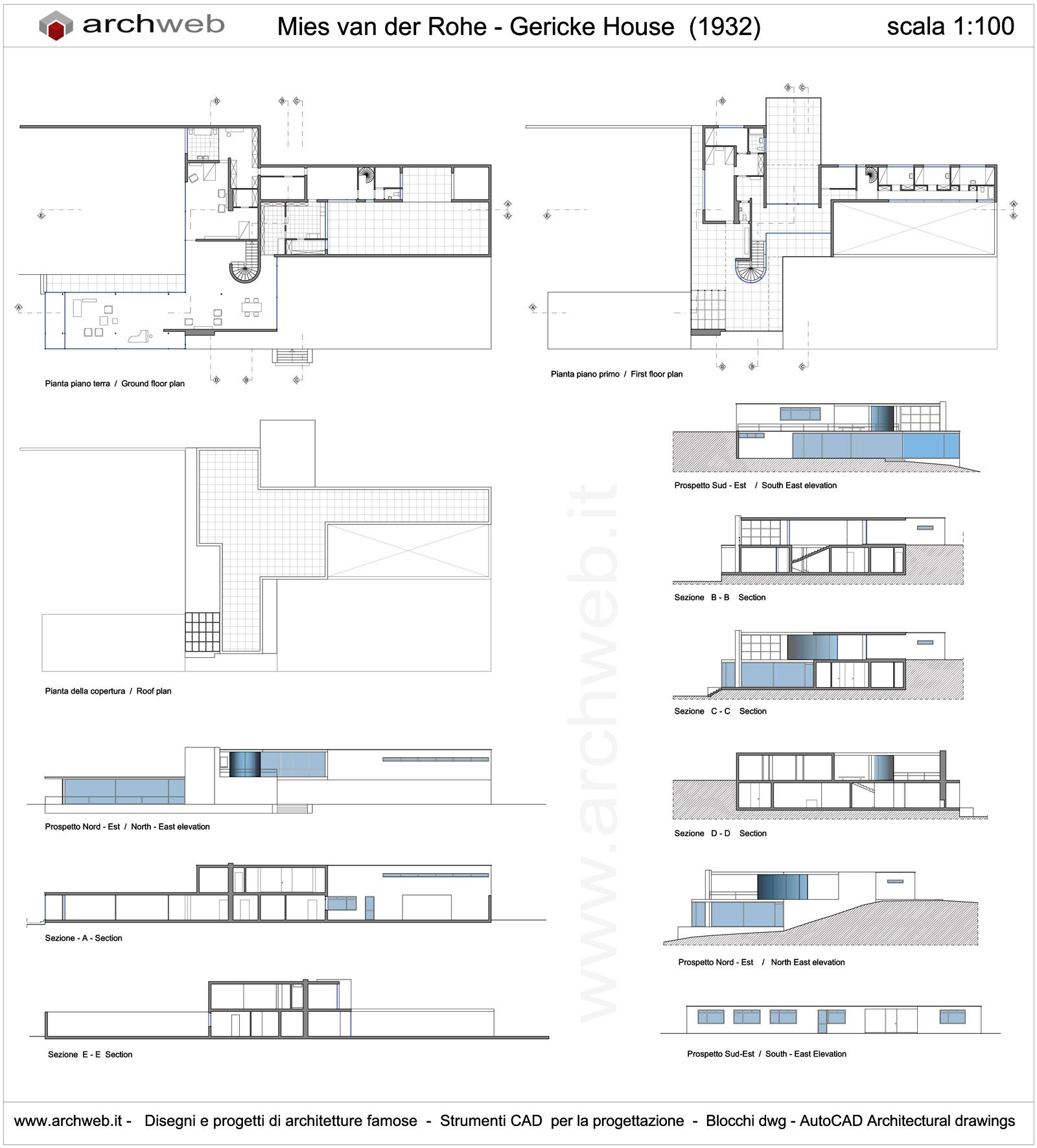Mies van der rohe gericke house drawings house plans for Archweb piante