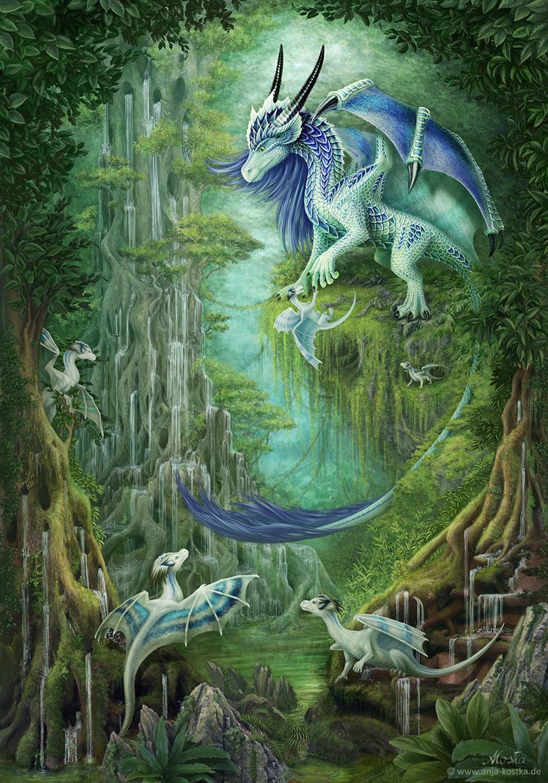 weiß-lila-blaue Drachen #dinosaurtattoos