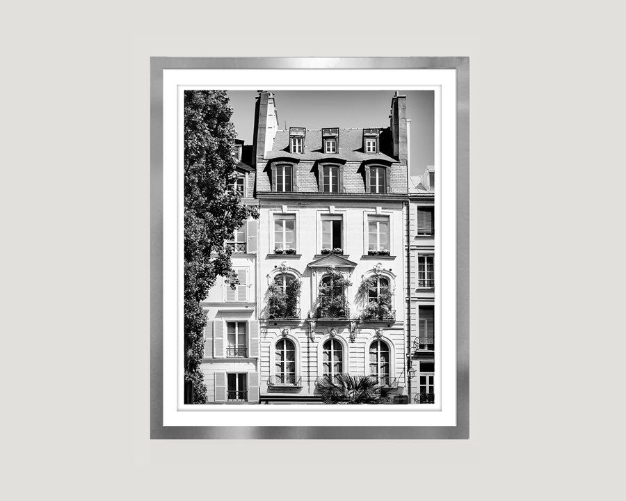 Paris black and white print large wall art poster windows photography architectural paris print