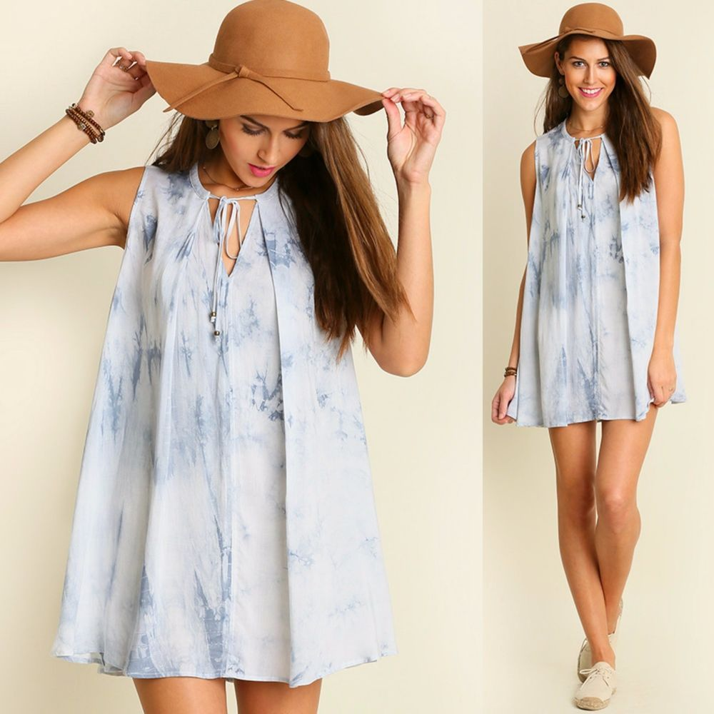 Umgee Sky Blue Tie Dye Keyhole Trapeze Swing Dress Sleevelss Tunic Top BOHO S-L #Umgee #TrapezeSwingDress #SummerBeach