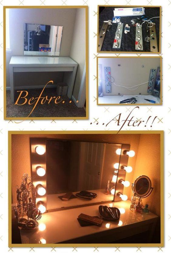Diy hollywood makeup vanity light mirror with click remote to turn diy hollywood makeup vanity light mirror with click remote to turn lights onoff aloadofball Images