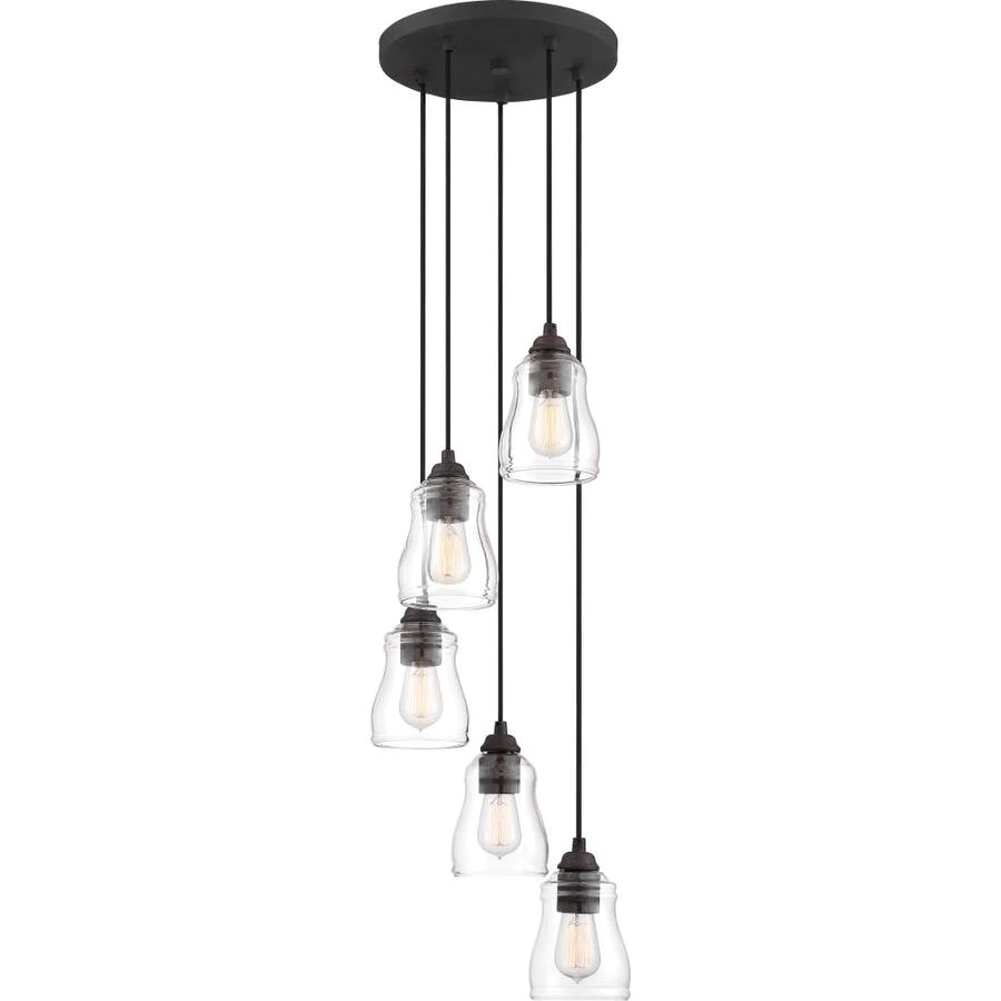 Quoizel Forkland 5Light Textured Matte Black and Rustic