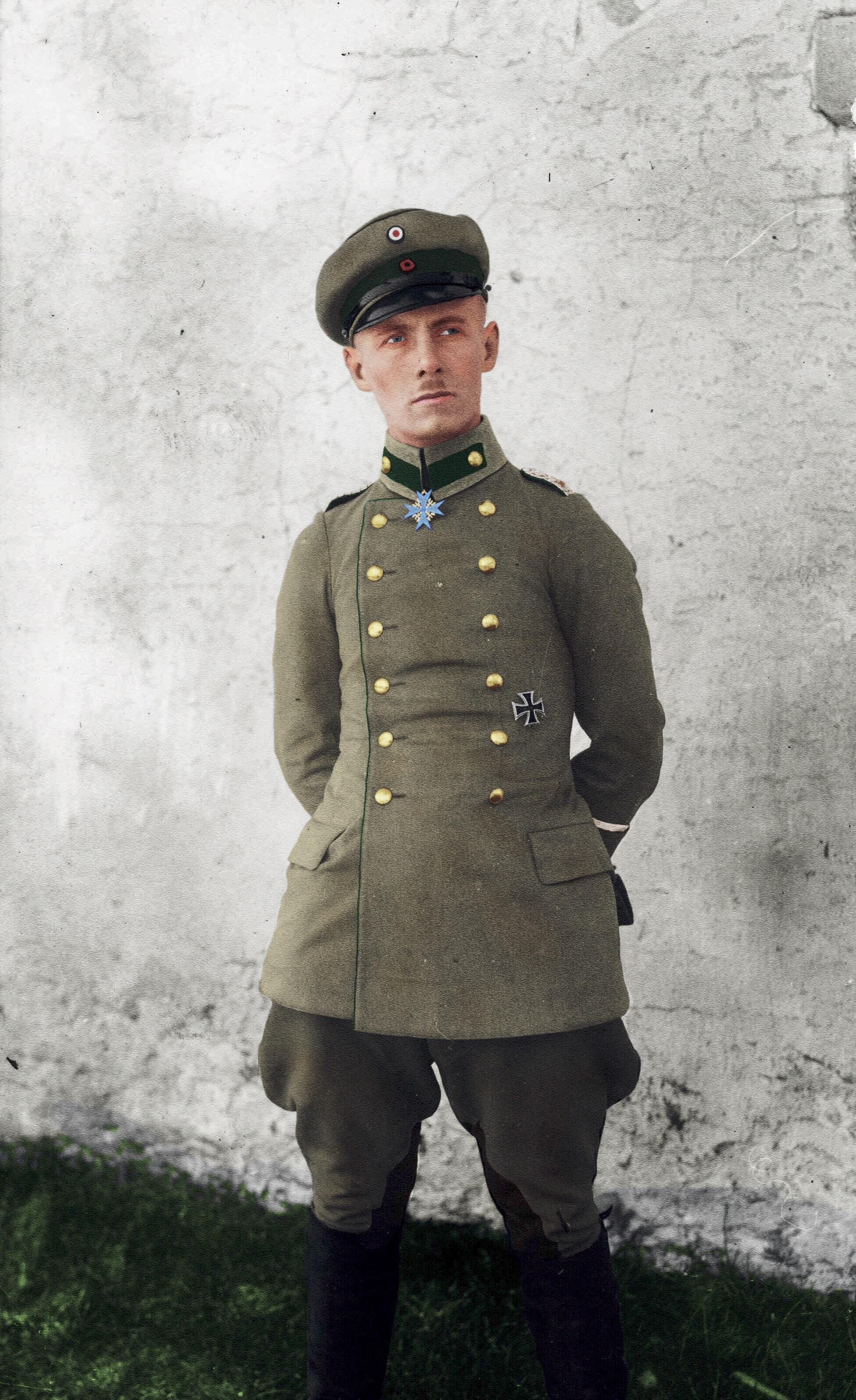 b38305b359e Erwin Rommel shortly after receiving the Pour Le Mérite for his actions  during the Battle of Caporetto in 1917. Colorized using GIMP.