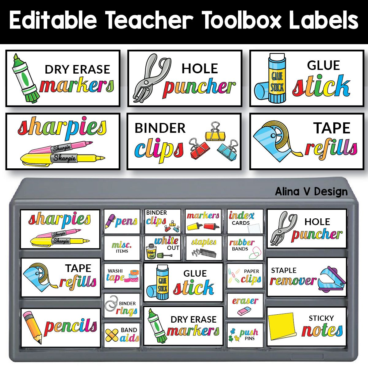Teacher Toolbox Labels Editable Classroom Supply Labels