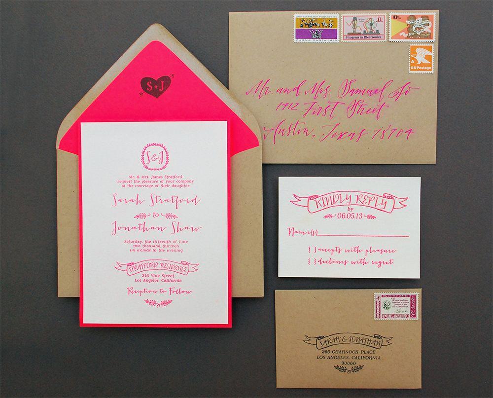Diy Kraft Paper Wedding Invitations: DIY Tutorial: Neon + Kraft Paper Wedding Invitations