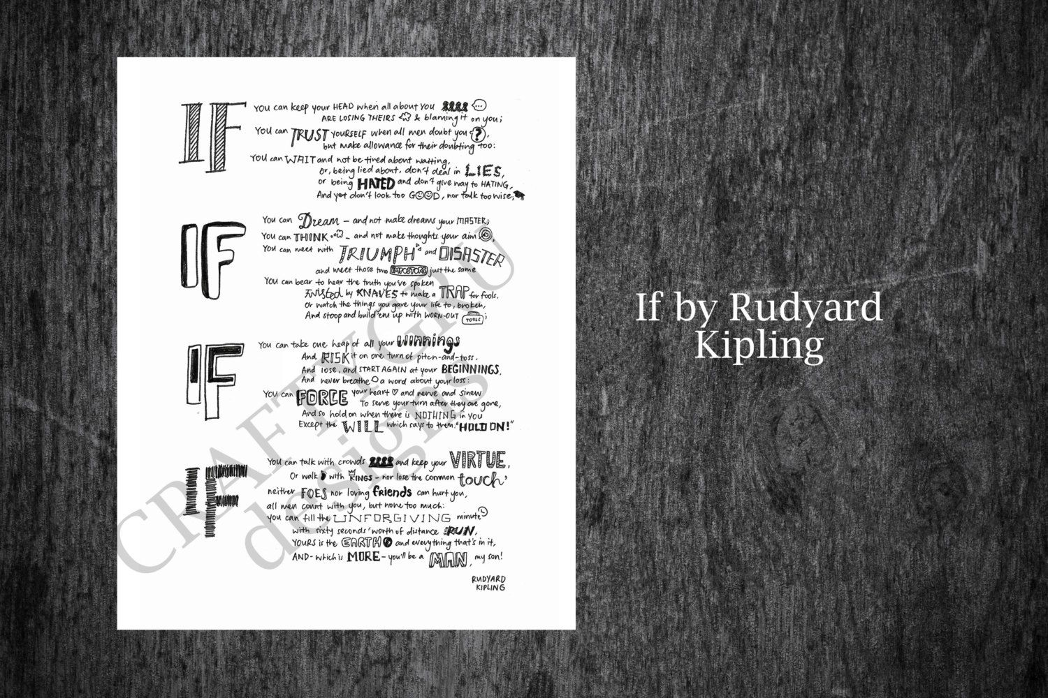 picture relating to If by Rudyard Kipling Printable identified as The poem If- by way of Rudyard Kipling, hand lettered. **THIS IS A