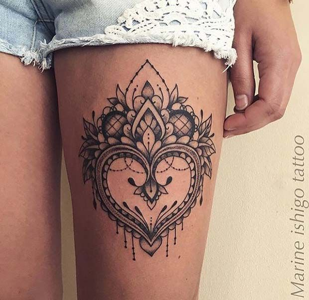 65 Badass Thigh Tattoo Ideas For Women Tattoos Palm Size