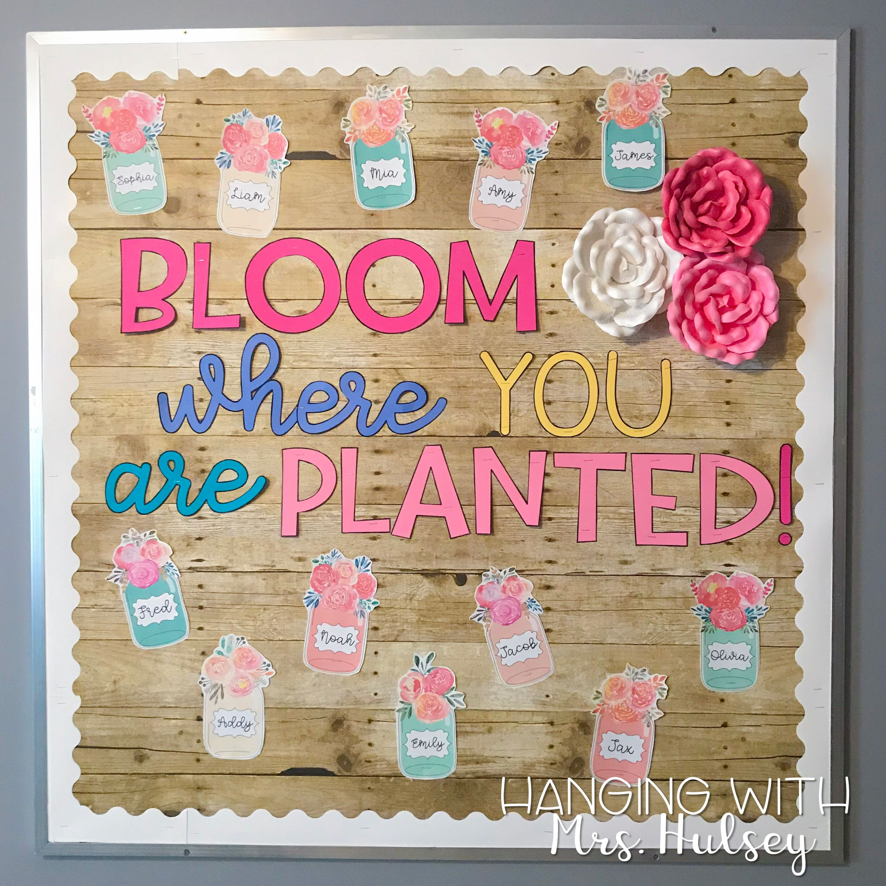 Floral Themed Welcome Bulletin Board Would Also Go Well With A Rustic And Shiplap Themed Class Welcome Bulletin Boards Garden Theme Classroom Infant Classroom