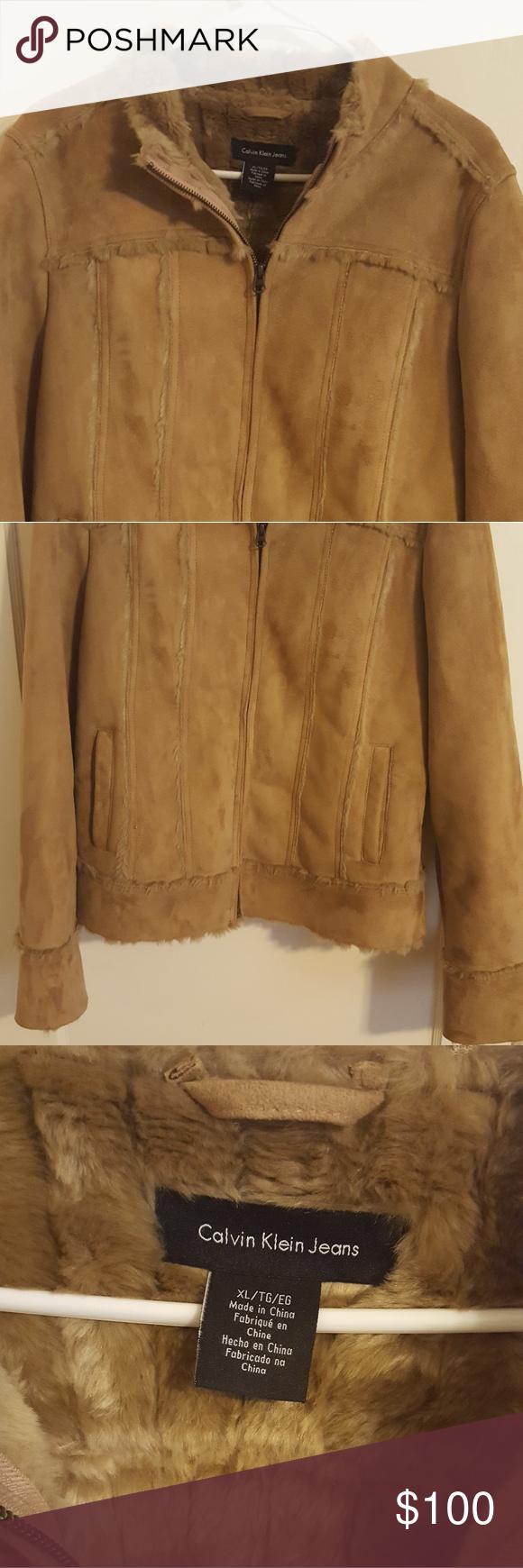 Calvin Klein fur lined suede jacket Waist length Calvin
