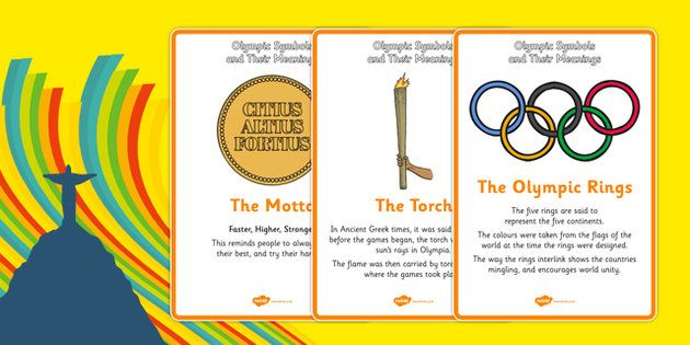 The Olympics Symbols And Their Meaning Display Posters Olympics Rio Olympics Symbols And Meanings