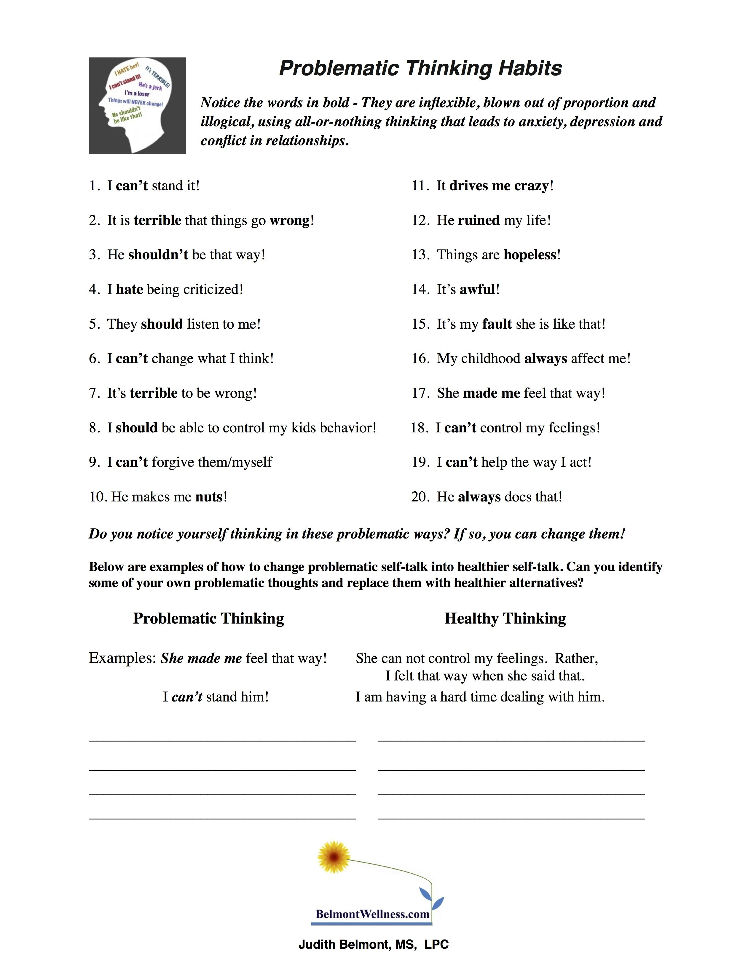Psychoeducational Handouts Quizzes and Group Activities – Reality Therapy Worksheets