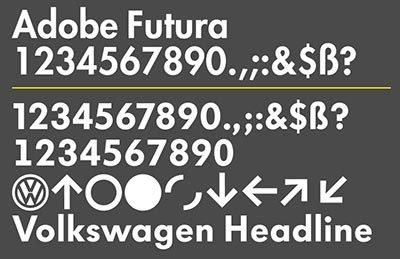 volkswagen headline font  based   futura   impressively reworked  metadesign