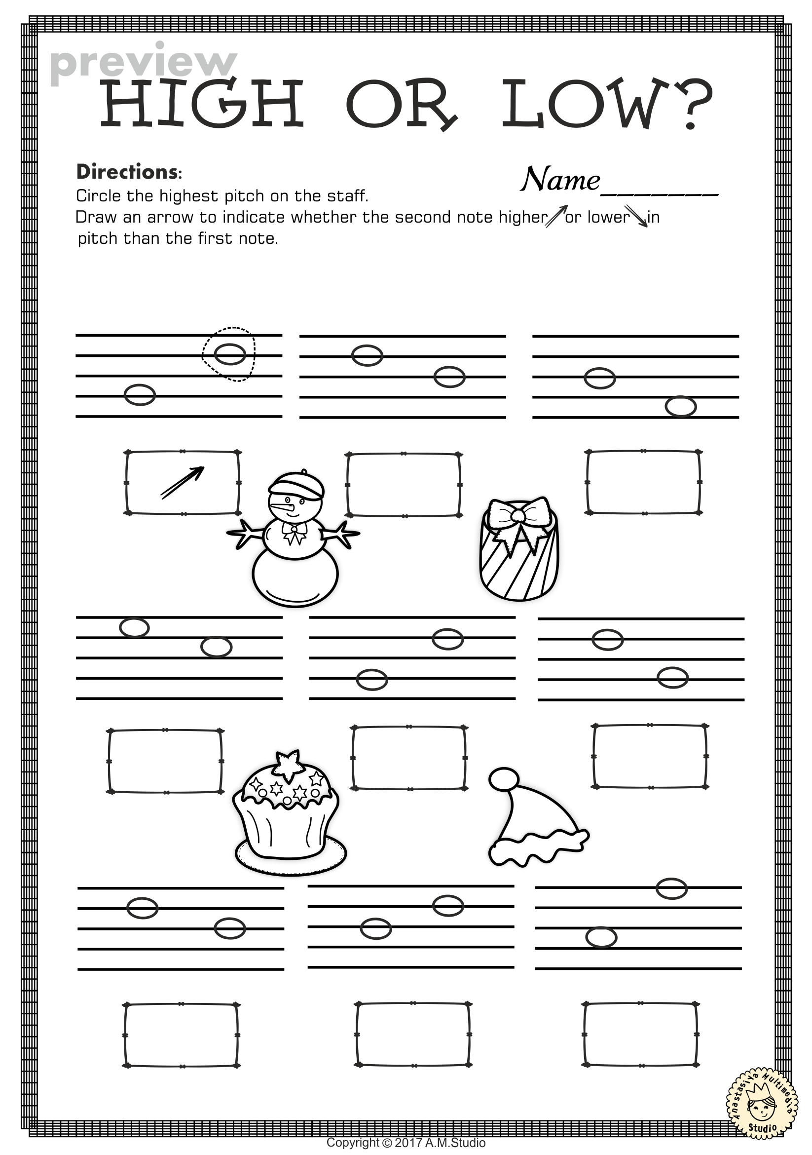 small resolution of This set of 20 Music worksheets Christmas themed is designed to help your  students practice identifyi…   Music worksheets