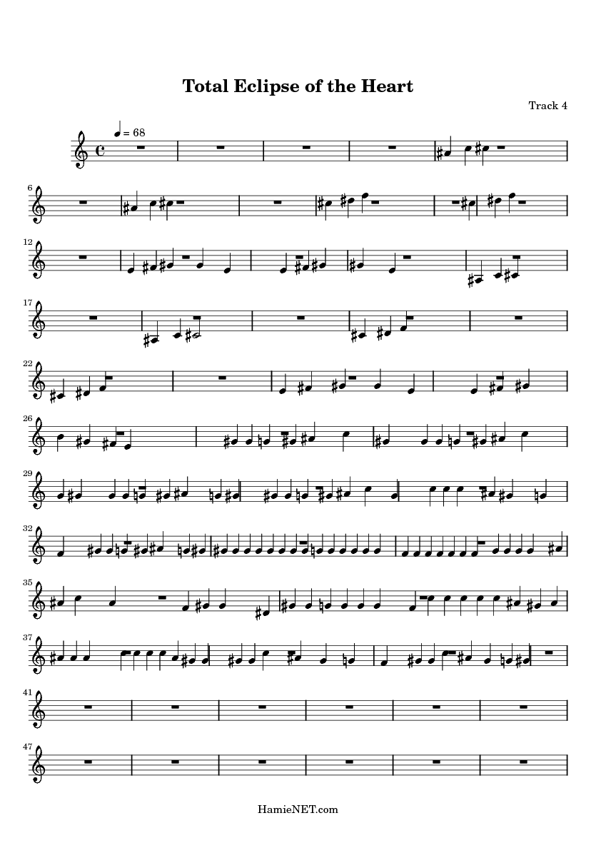 Total Eclipse of the Heart Sheet Music   Total Eclipse of the ...