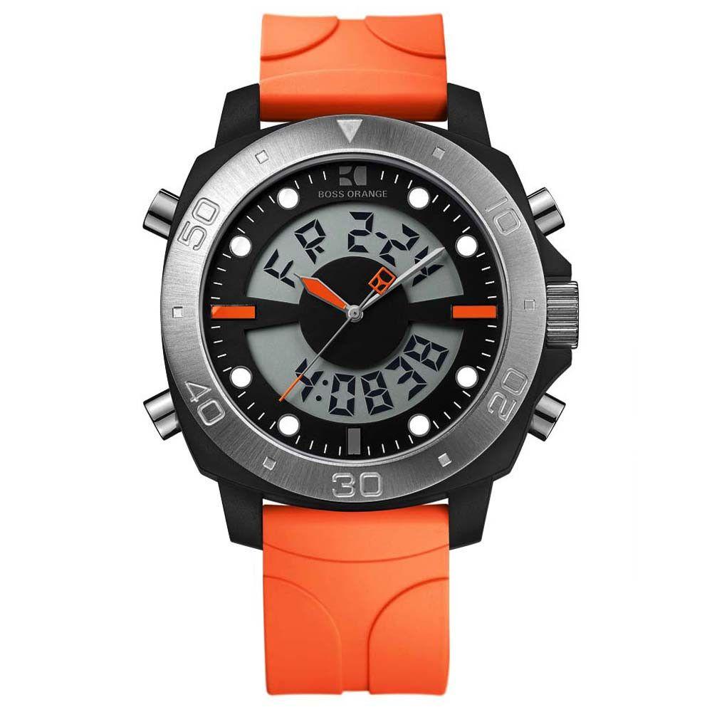04e18dc14 Hugo Boss 1512681 Men's Boss Orange Analog Digital Orange Rubber Strap  Chronograph Watch