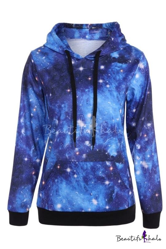 Fashion Hot Men Sweatshirt Kangaroo Pocket Stars Galaxy 3D Hoodie Long Sleeve
